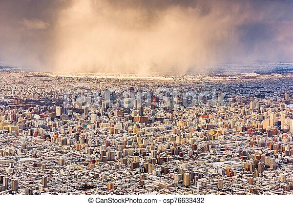 Sapporo, Japan aerial cityscape in winter - csp76633432