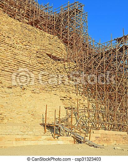 saqqara, 足場, ピラミッド, djoser - csp31323403