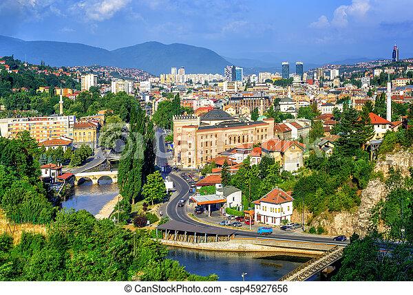 Sarajevo city, capital of Bosnia and Herzegovina - csp45927656