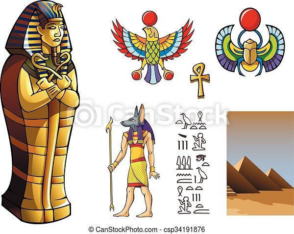 Sarcofago Egipcio Sarcofago Elementos Ilustracao Fundo