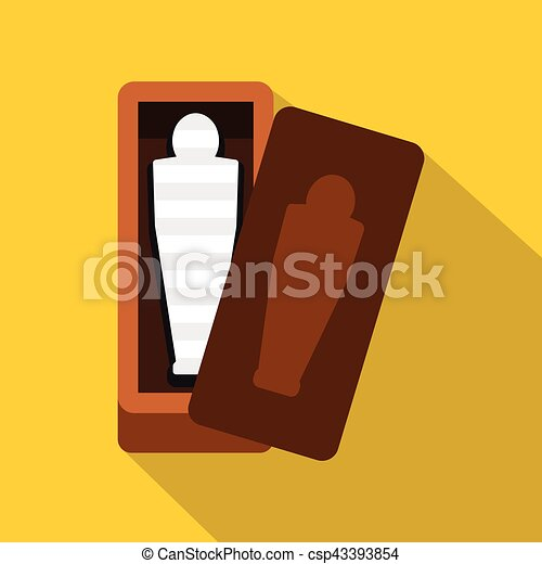 Sarcophagus of an Egyptian mummy icon, flat style - csp43393854