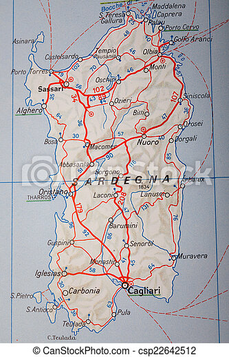 Sardegna Italy Map Photography Sardegna On A Road Map