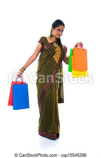 saree, femme, traditionnel, dons, tenue, portrait, sourire - csp15545296