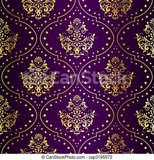 sari, gold, lila, muster, seamless, kompliziert - csp3195972