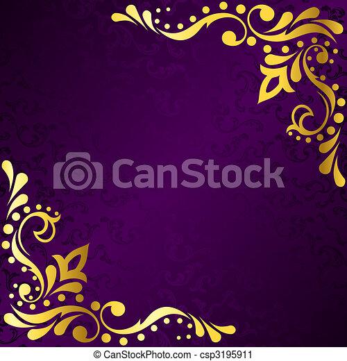 sari, or, pourpre, cadre, filigrane, inspiré - csp3195911