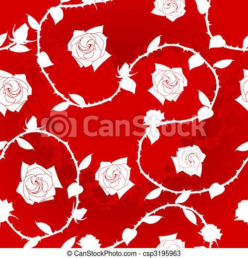 Sari Rose Seamless Modèle Blanc Rouge