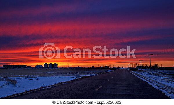 Saskatchewan Prairie Sunset - csp55220623