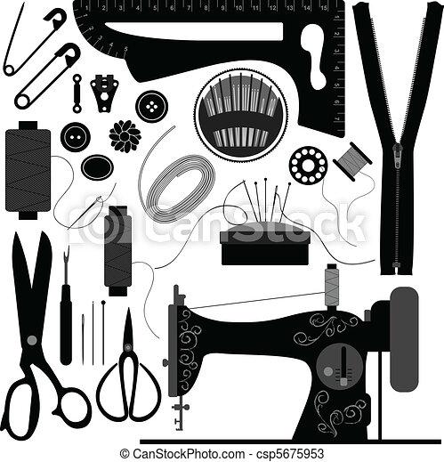 sastre, negro, retro, costura - csp5675953
