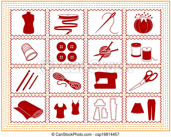 Cosiendo, cosiendo, tejiendo, icono de la nave - csp16814457