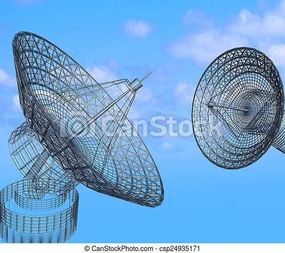Platos de satélite en el fondo del cielo - csp24935171