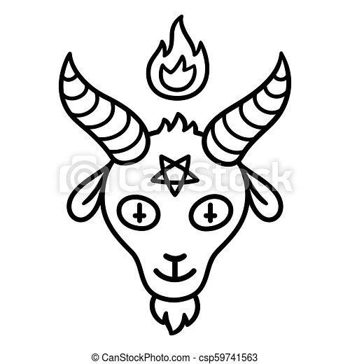 Satan Goat Head Cartoon Style Satan Drawing Goat Head With