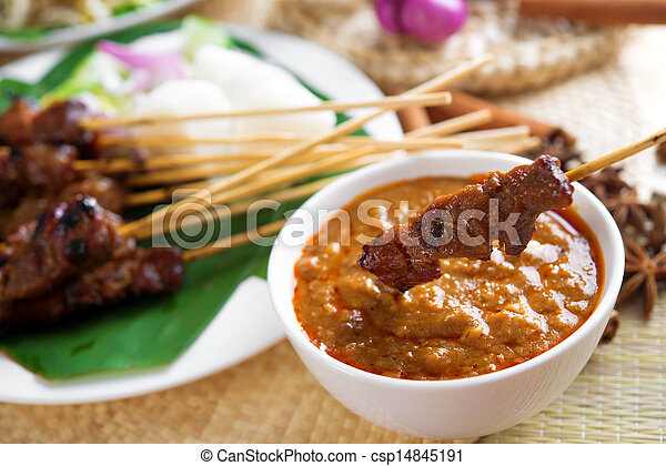 Satay skewered and grilled meat - csp14845191