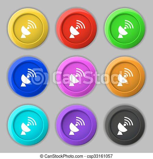 Satellit, buttons., zeichen., antenne, symbol, vektor, neun, bunter ...