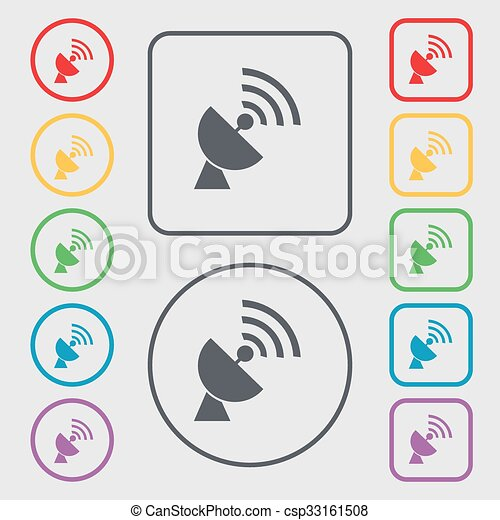 Satellit, quadrat, zeichen., frame., antenne, symbol, tasten, vektor ...