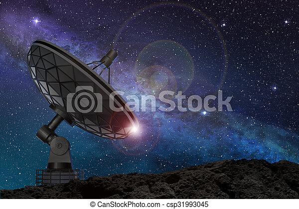 satellite, étoilé, sous, ciel, nuit, plat - csp31993045