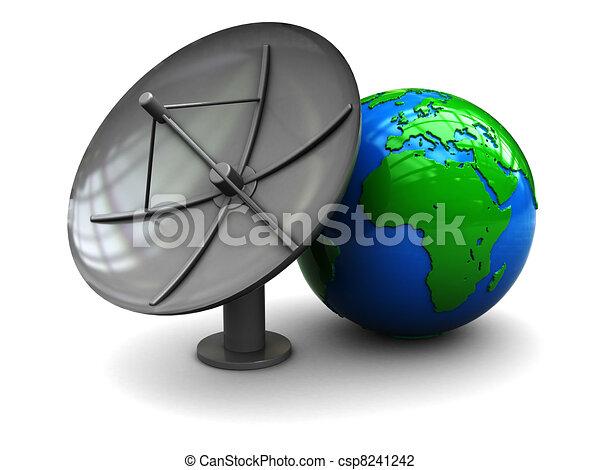 Line Art Earth : Satellite antenna and earth d illustration of globe