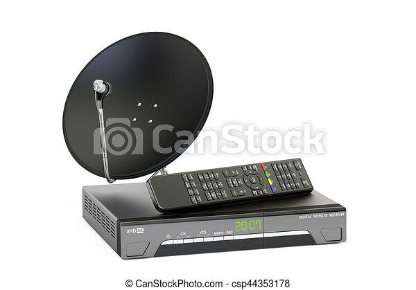 satellite, concept., numérique, plat, rendre, récepteur, télécommunications, 3d - csp44353178