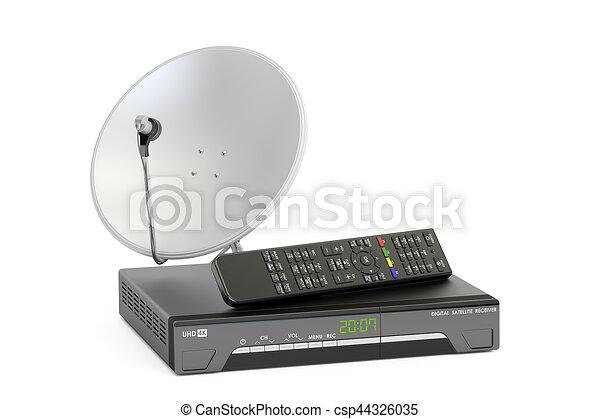satellite, concept., numérique, plat, rendre, récepteur, télécommunications, 3d - csp44326035