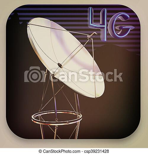 Satellite dish icon . 3D illustration. Vintage style. - csp39231428