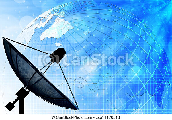 Satellite dish on global background for Communication and technology - csp11170518