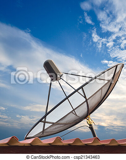 Satellite dish with blue sky - csp21343463