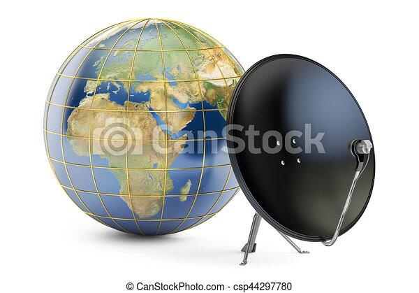 satellite, globe global, télécommunications, rendre, plat, concept., la terre, 3d - csp44297780