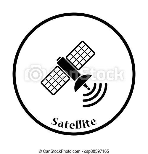 satellite icon thin circle design vector illustration Office Equipment Noise Icon