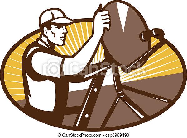 Satellite Installation Technician Worker Illustration Of