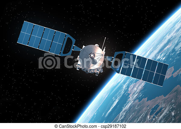 space satellite orbiting earth realistic 3d scene