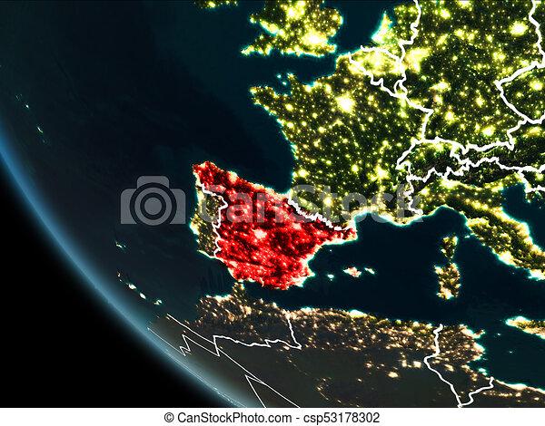 Satellite Map Of Spain.Satellite View Of Spain At Night