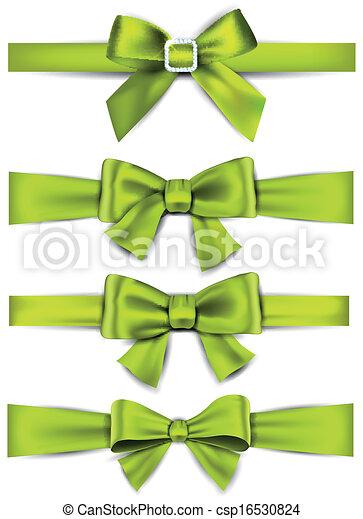 Satin green ribbons gift bows set of green satin bows vector gift bows vector negle Images
