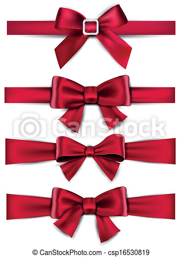 Satin red ribbons gift bows set of red satin bows vector ribbons gift bows csp16530819 negle Gallery