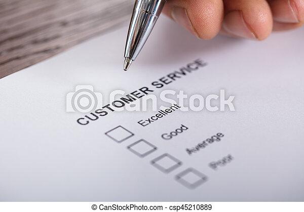 satisfaction client, enquête, service, formulaire - csp45210889
