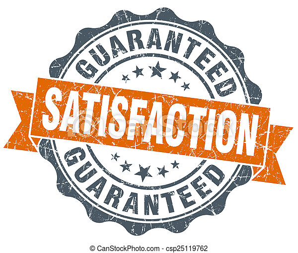 satisfaction guaranteed vintage orange seal isolated on white - csp25119762