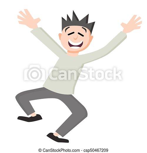 Satisfied Customer Happy Jumping Man - csp50467209