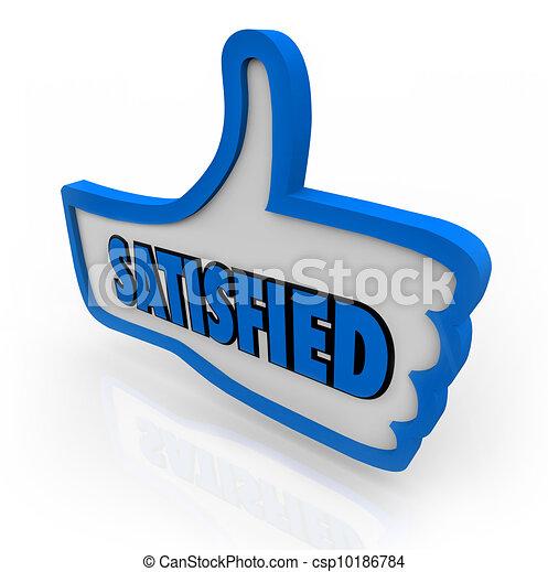 Satisfied Word on Blue Thumb Pleased Thumbs Up - csp10186784