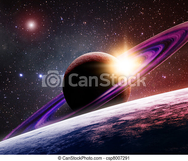 Saturn with its moon - csp8007291