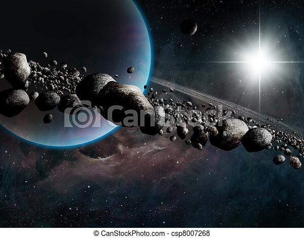 Saturn With Rings Fantasy Space Art With Gas Planet And Rings