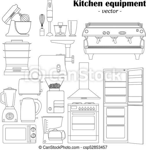 Satz 14 Schwarzweiss Kuche Ausrustungen Elemente Design