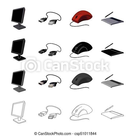 Satz, accessoirs, edv, monochrom, maus, stil, usb,... EPS Vektor ...