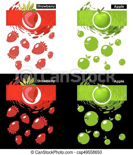Satz Apfel Fruechte Erdbeer Schablone Ikone Satz