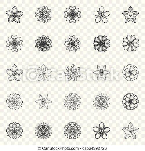 satz, einfache , stil, blume, ikone - csp64392726
