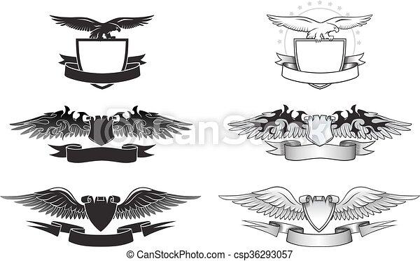 Gewonnenes Emblem mit Adlern, Flügeln und Schilden - csp36293057