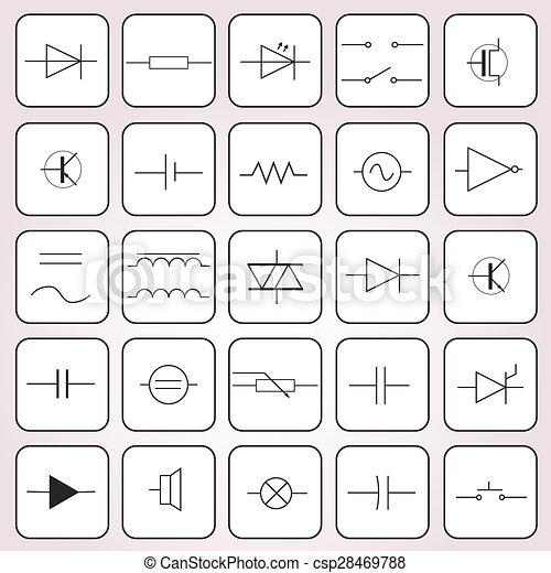 Satz, eps10, symbole, technik, elektrisch, schematisch.