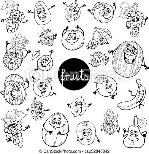 Satz, farbe, buch, charaktere, früchte, karikatur. Satz,... EPS ...