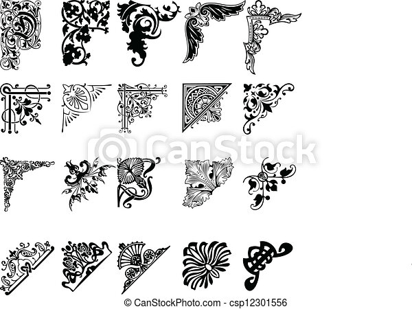 satz, farbe, zwanzig, corners., eins, elemente, design. - csp12301556