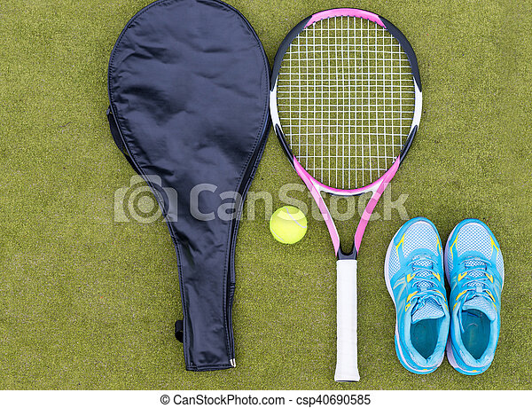pretty nice d8f6a e98d2 satz, gericht, decke, tennis, ausrüstung, kugel, turnschuhe, weibliche ,  schläger