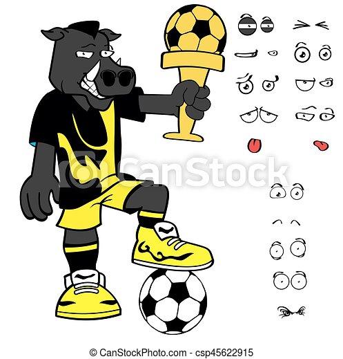 Gewinner Wildschwein Fussball Cartoon Ausdrucke Gesetzt