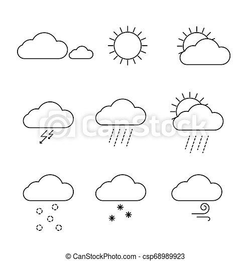 Wettersymbole setzen Vektor. Außenwolken, Sonnen- und Regensymbole. - csp68989923