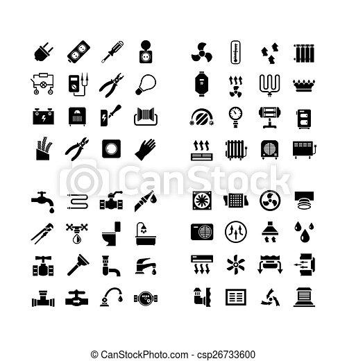Satz, Heiligenbilder, Haus, System, Icons., Installateurarbeit, Elektrizität,  Heizung